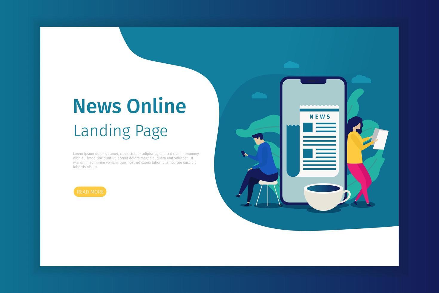 plantilla de página de destino en línea de noticias vector