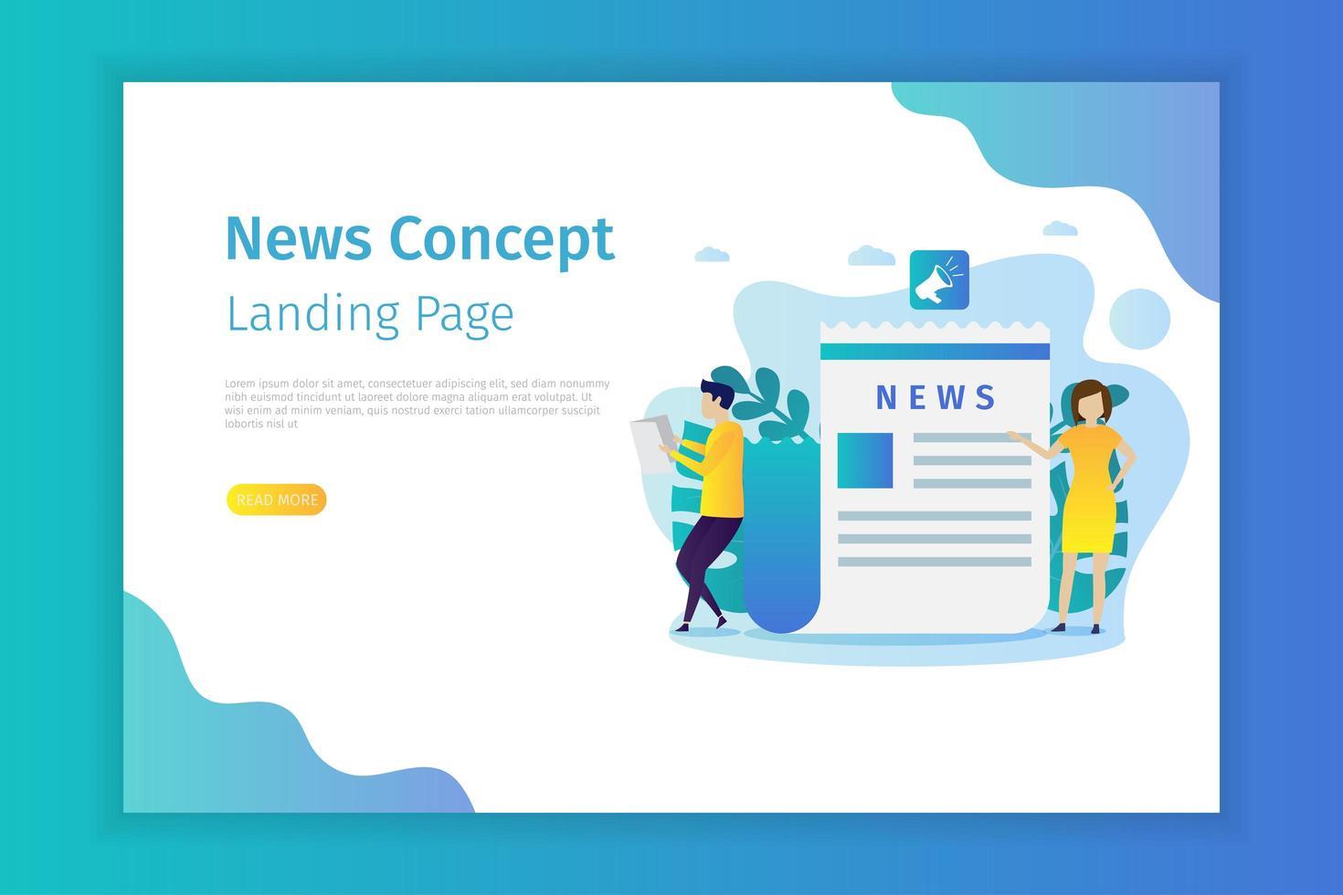 plantilla de página de destino de noticias vector