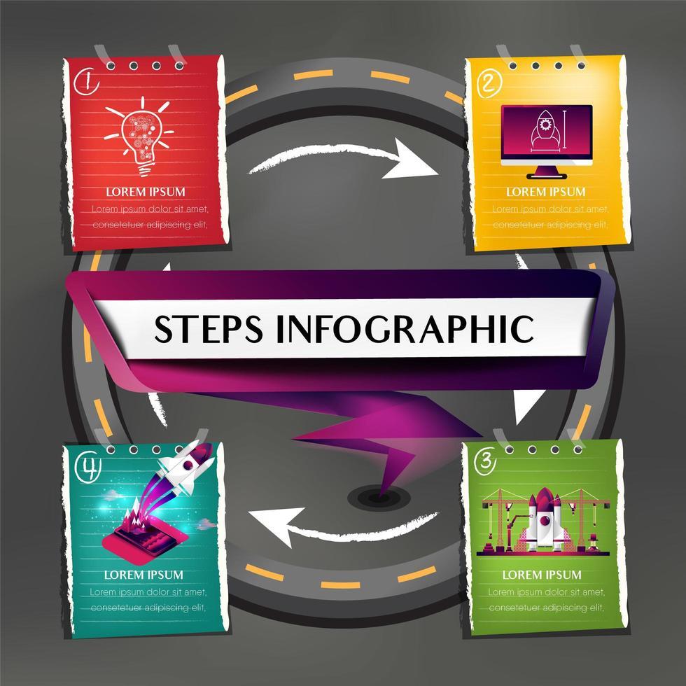 cuatro notas de color en la infografía de la carretera circular vector