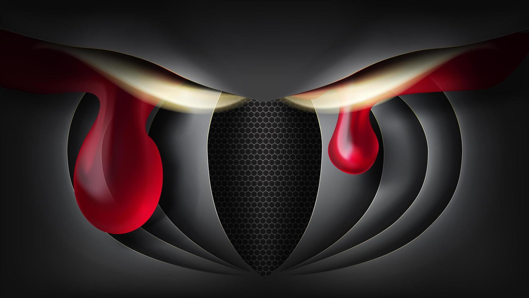 búho de papel con lágrimas rojas vector