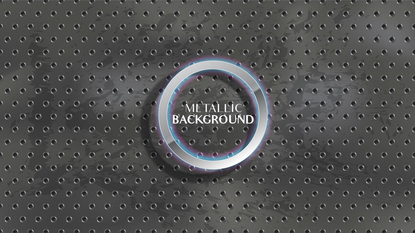 Agujeros circulares metálicos en carbón grunge, textura de pizarra vector