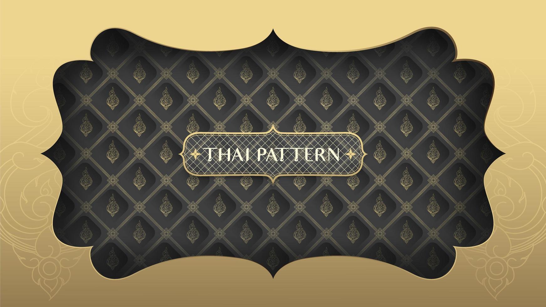 marco dorado sobre patrón tailandés negro y dorado vector