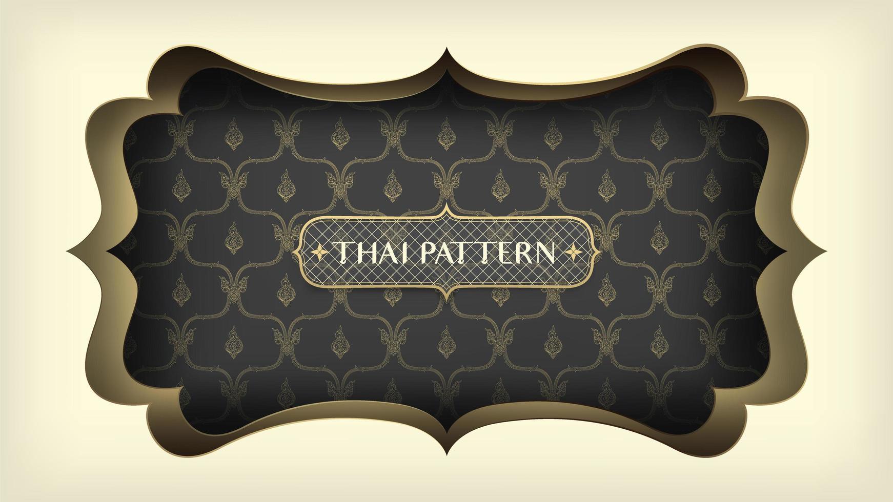 patrón tailandés negro con marco dorado adornado vector