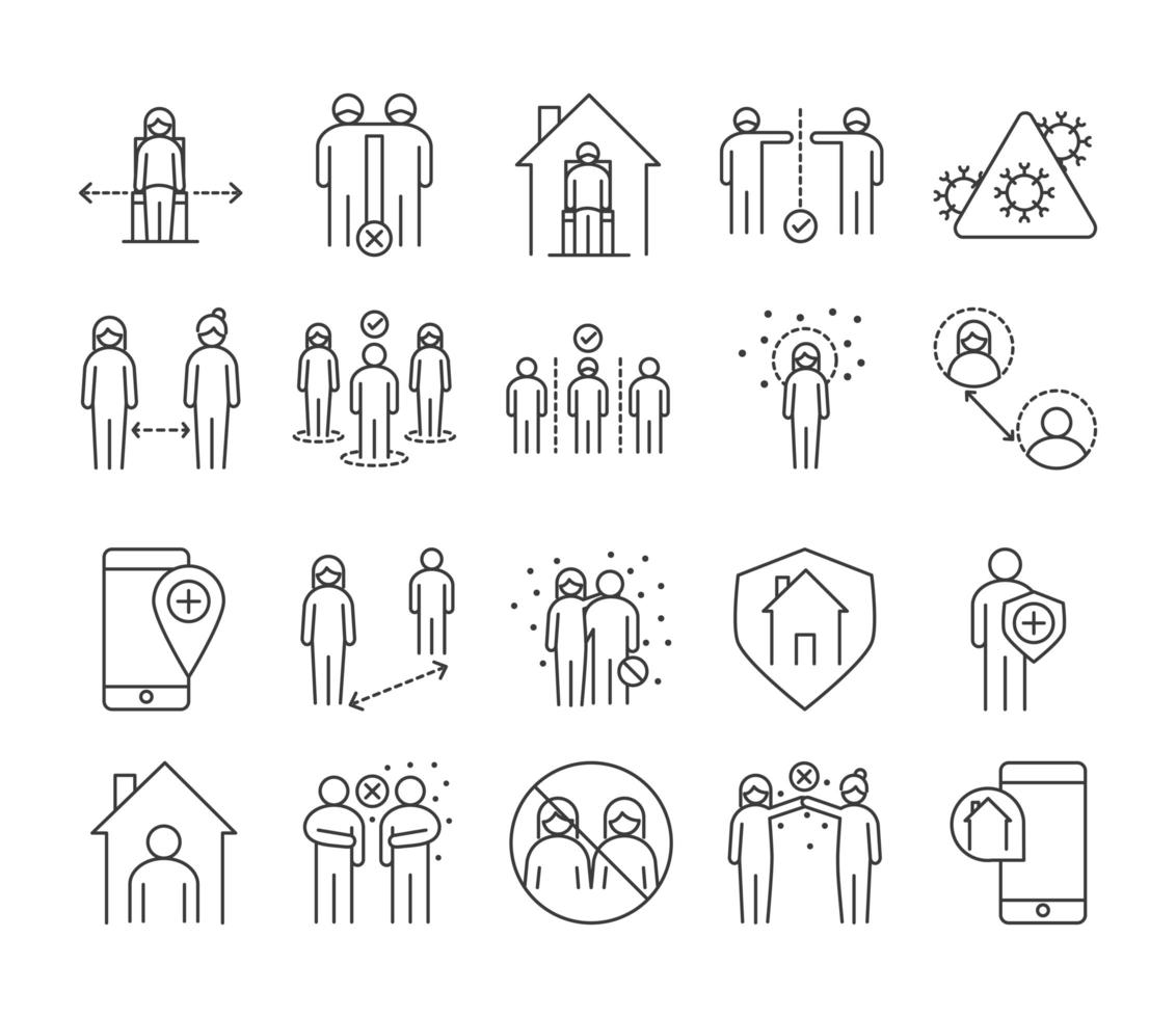 Viral infection and social distance pictogram icon pack vector