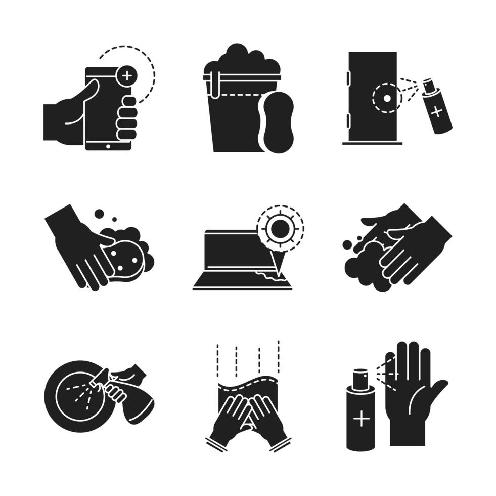 Prevention and disinfection black icon pack  vector
