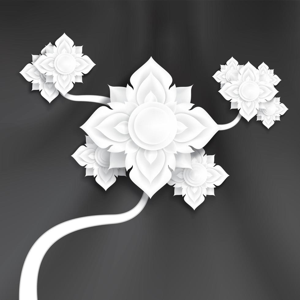 Flores de arte de papel tradicional abstracto en textura de seda negra vector