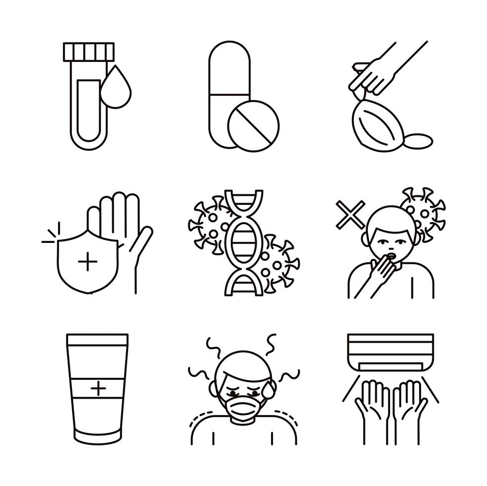Covid-19 and coronavirus icon collection vector