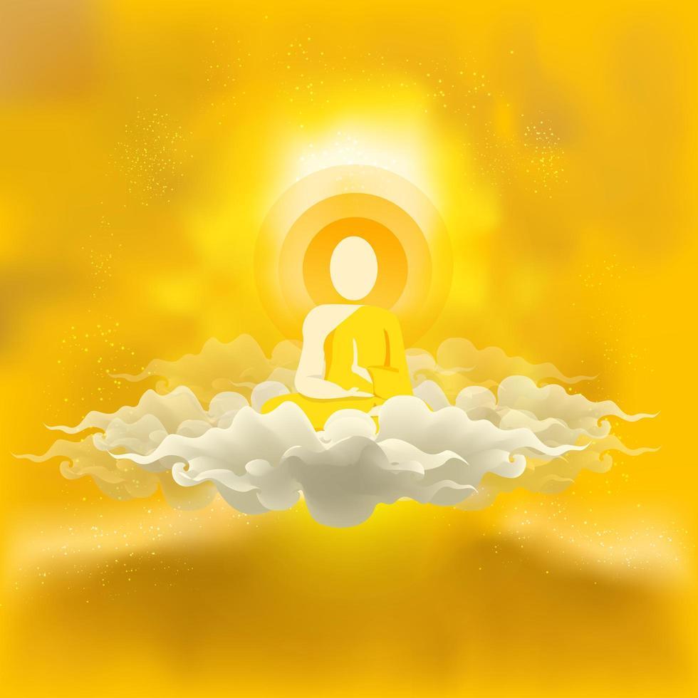 monje budista volador sentado en las nubes vector