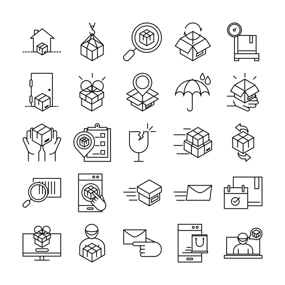 conjunto de iconos de entrega y logística vector