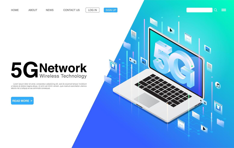 Tecnología inalámbrica de red 5g en la página de inicio de la computadora portátil vector