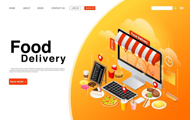 pedir comida en línea en el escritorio de la computadora vector