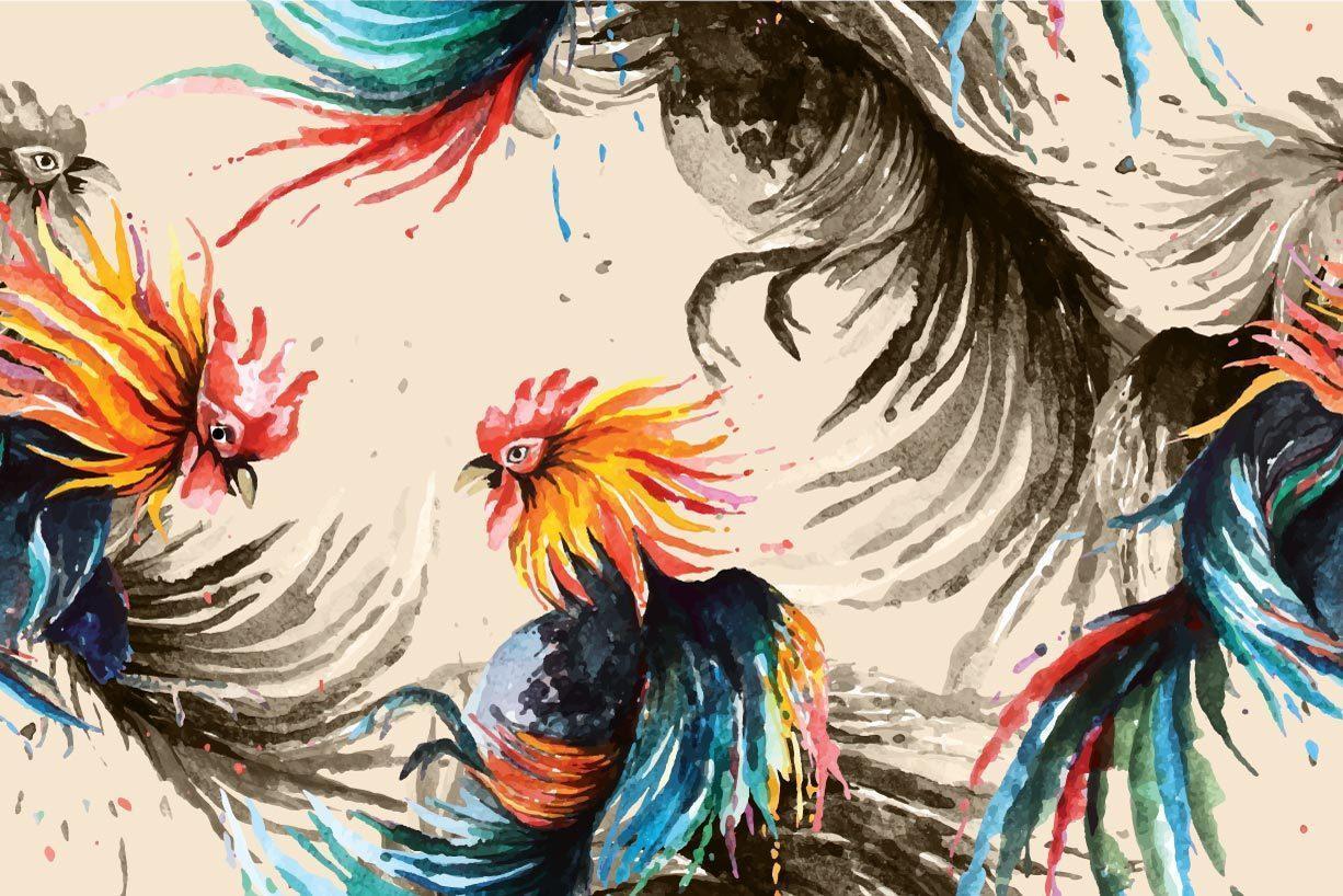 Patrón sin fisuras de gallo de pelea pintado con acuarela vector