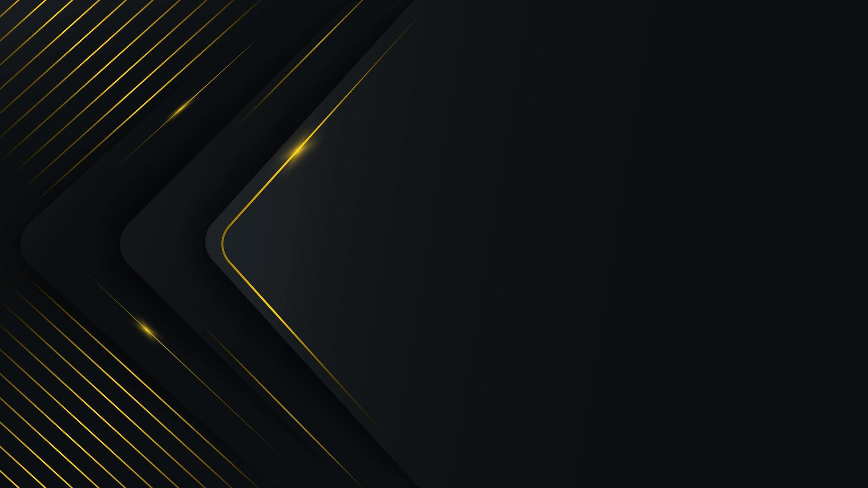 ABstract rounded triangle layers with golden lines vector