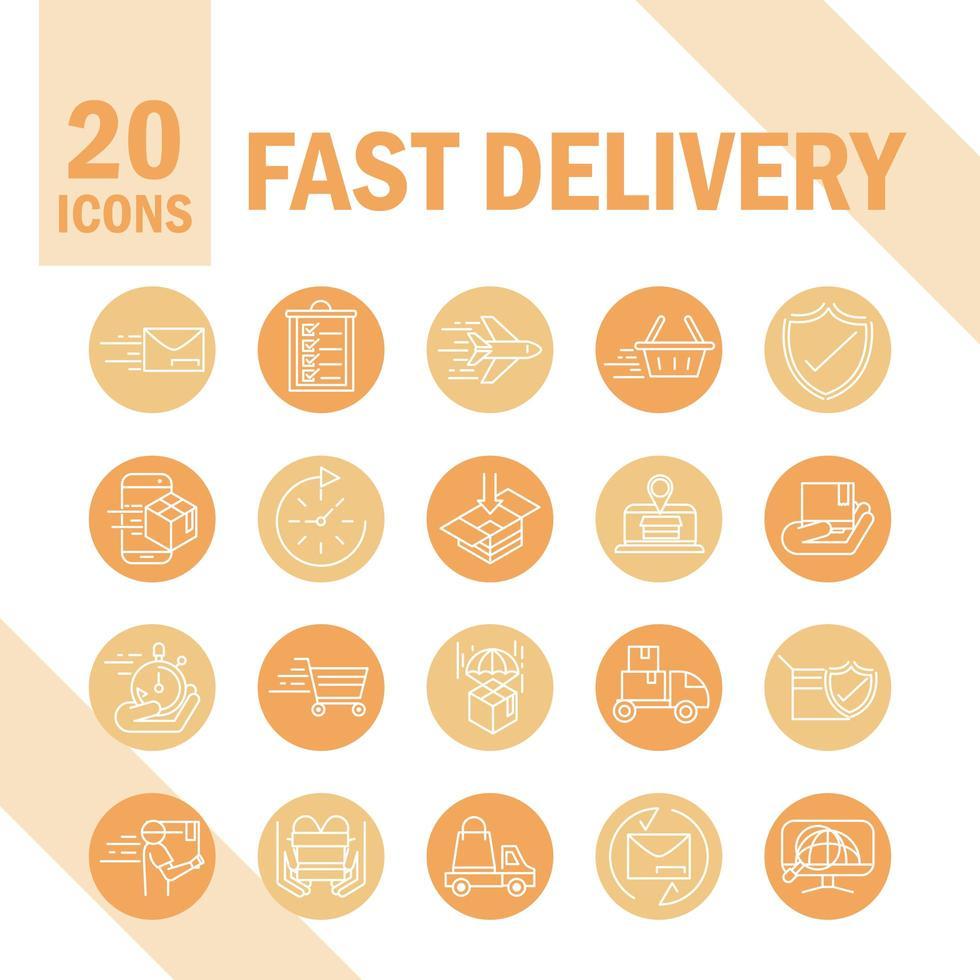 conjunto de ícones de entrega expressa e rápida vetor
