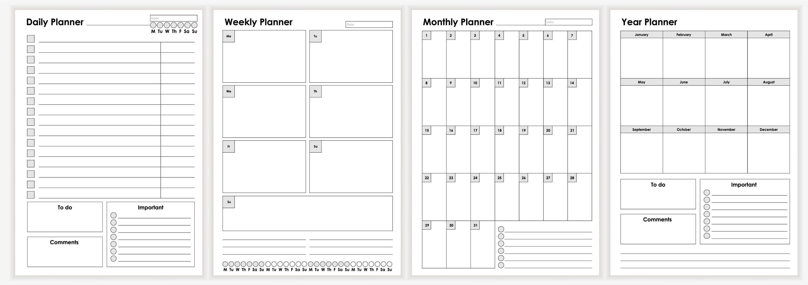 colección de hojas minimalistas del planificador de vida y negocios. vector