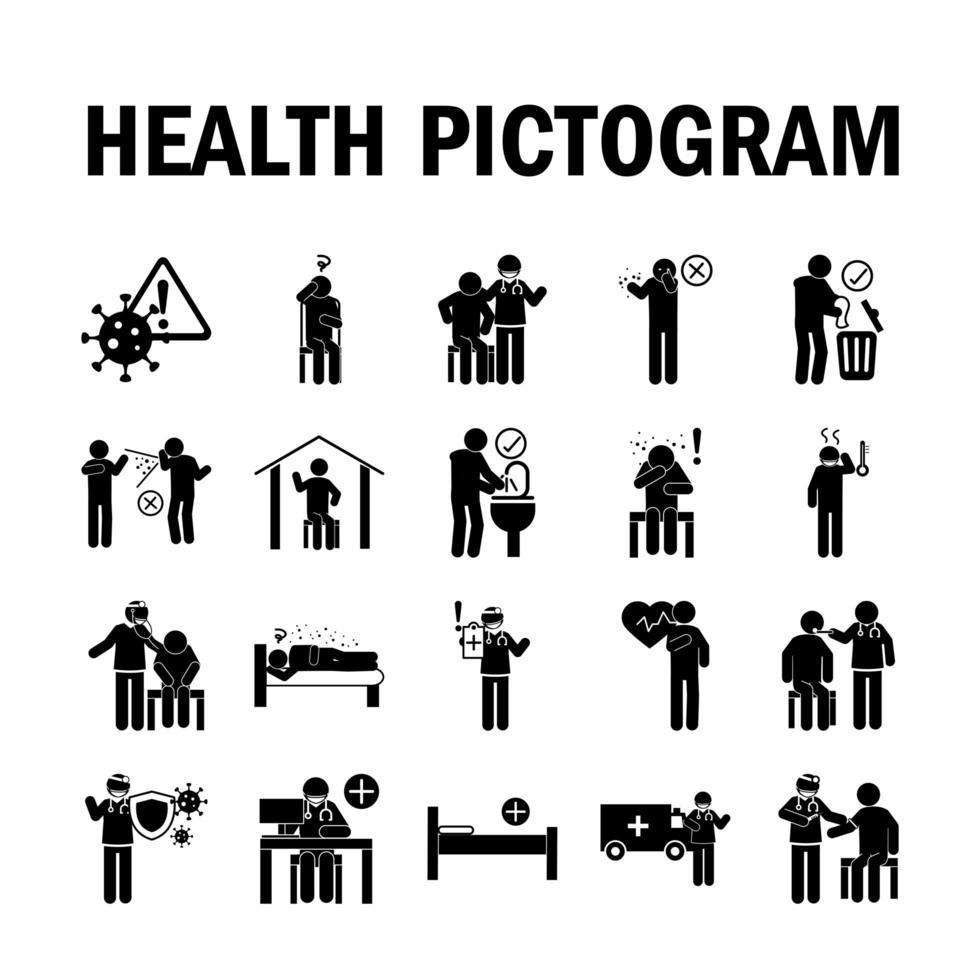Cuidado de la salud e infección viral conjunto de iconos de pictograma negro vector