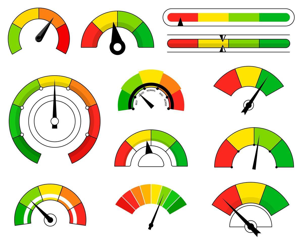 Conjunto de escalas de dibujos animados de diferentes colores con flechas vector
