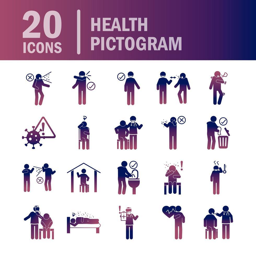 Cuidado de la salud e infección viral conjunto de iconos de pictograma de color degradado vector
