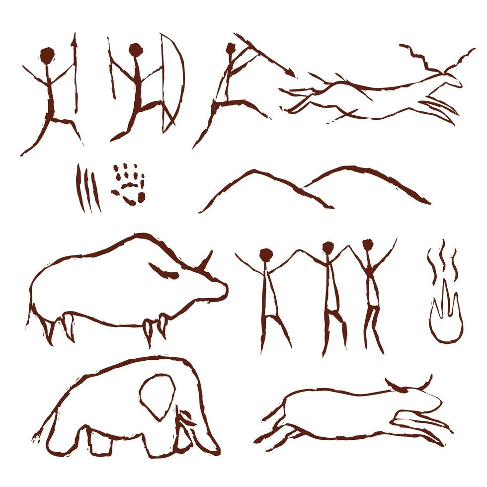Cave rock painting old art symbols vector