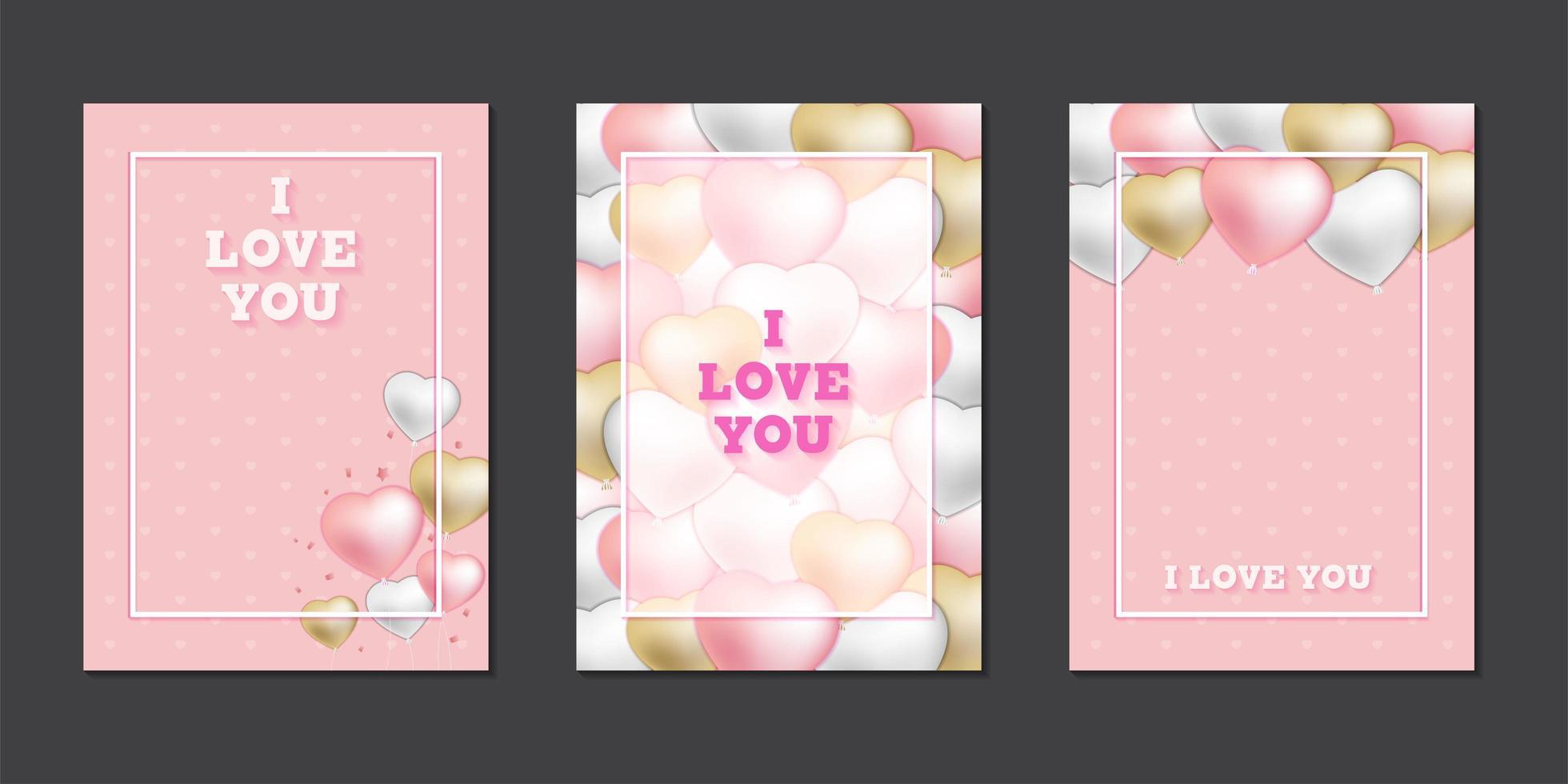 tarjetas de felicitación con lindos globos de corazón vector