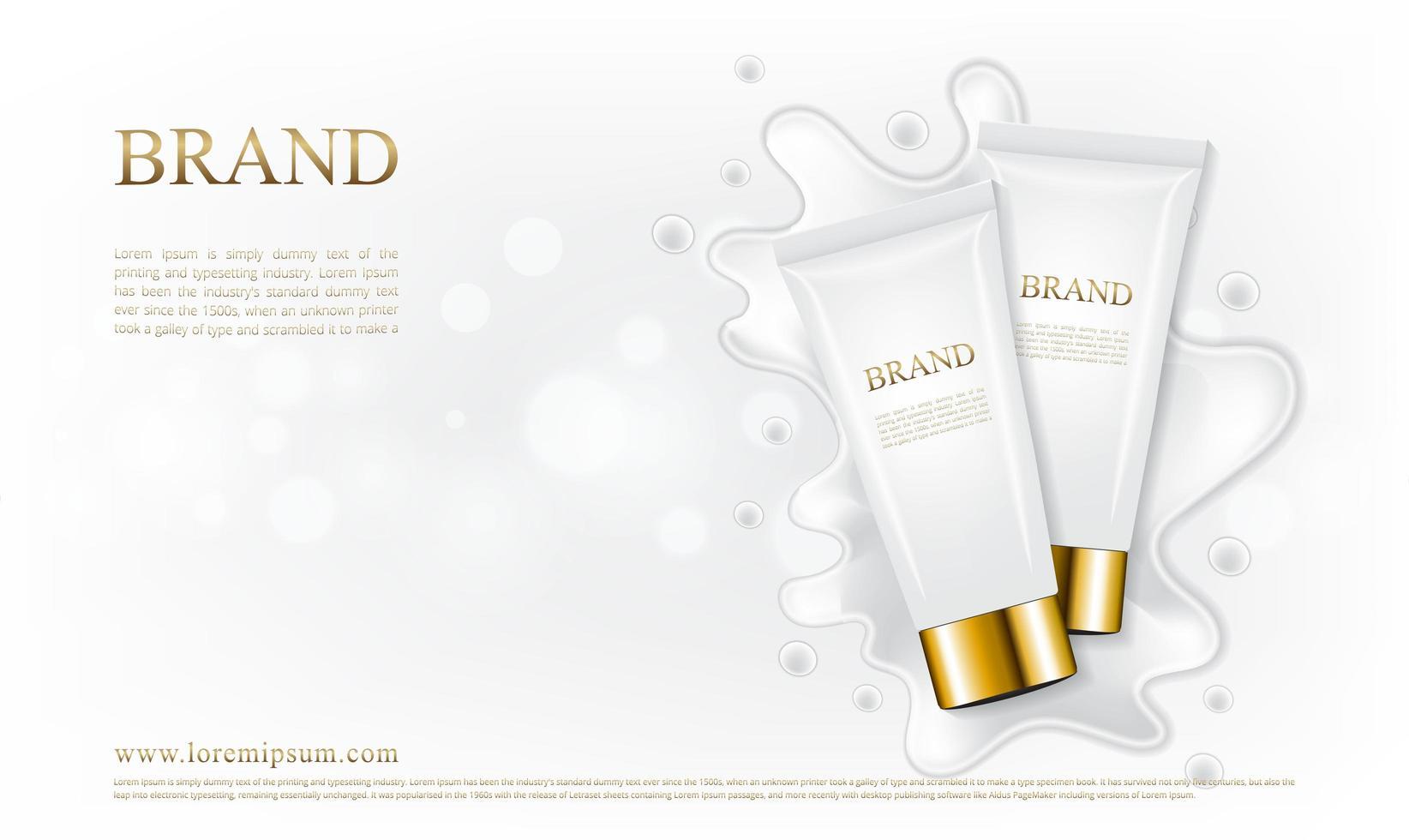 Cuidado de la piel del tubo cosmético con salpicaduras de crema blanca. vector