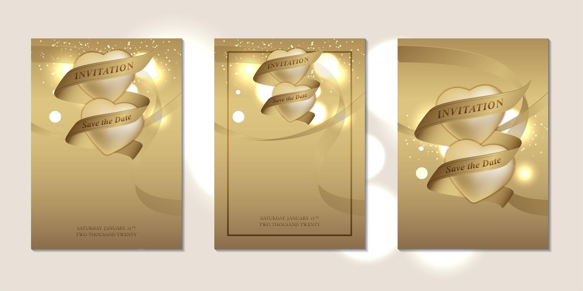 tarjetas de invitación de boda con corazones y cintas vector