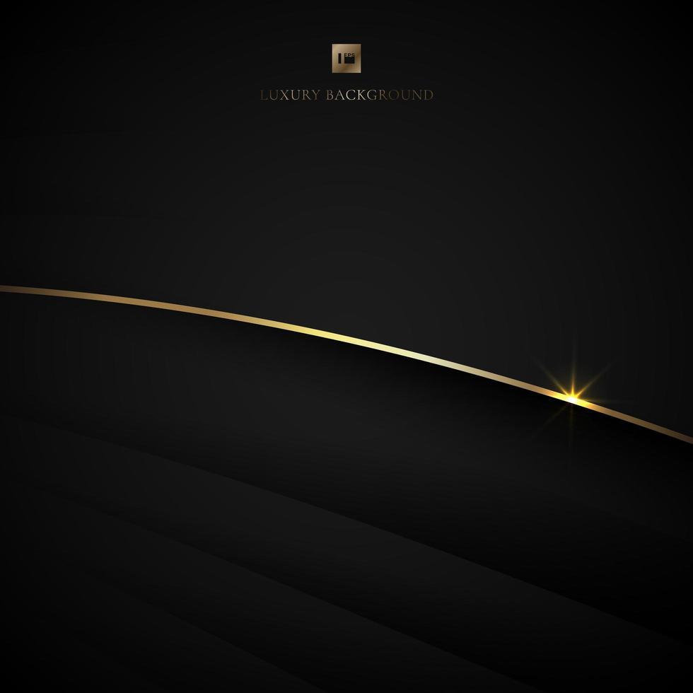 capas curvas negras con línea dorada iluminada vector