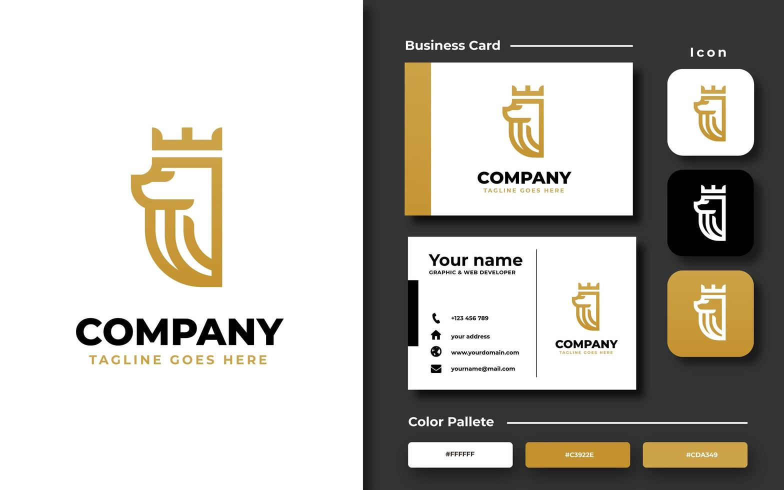 Lion with crown template and business card vector