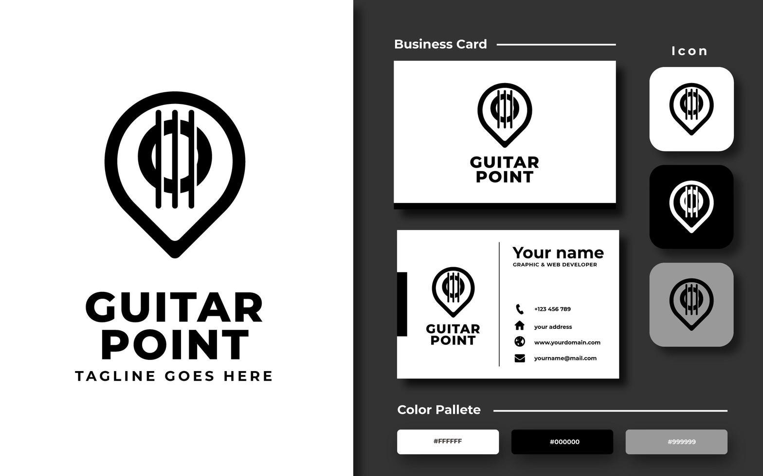 mapa pin plantilla de guitarra y tarjeta de visita vector