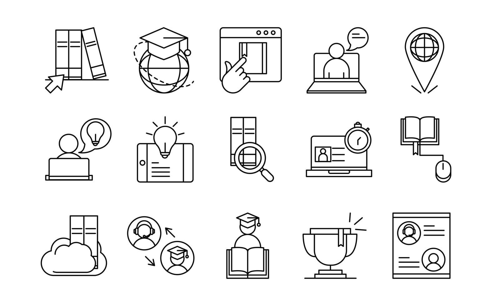 Surtido de iconos de pictogramas de línea de educación en línea vector