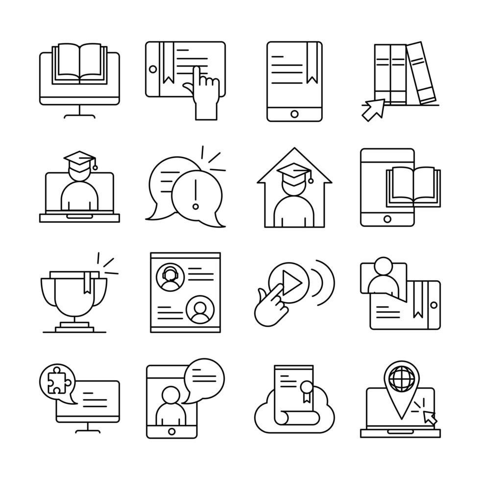 paquete de iconos de pictograma de línea de educación en línea vector