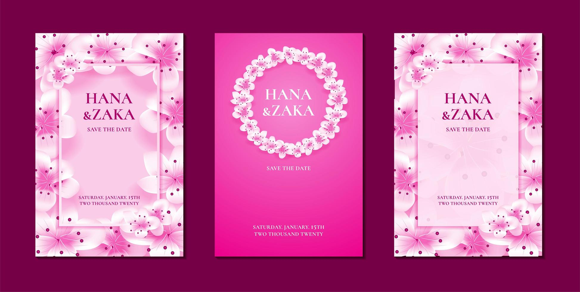 invitaciones de boda de flor de cerezo de sakura vector