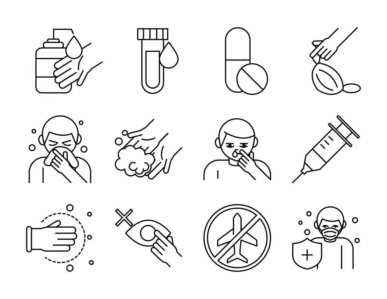paquete de iconos de pictogramas de prevención de coronavirus vector