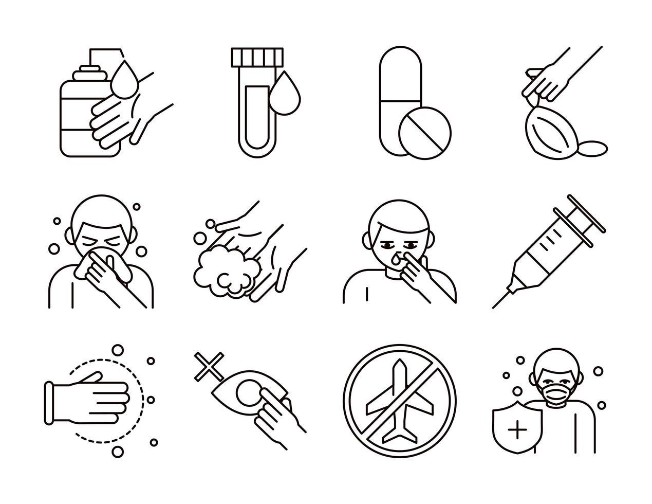 Coronavirus prevention pictogram icon package vector