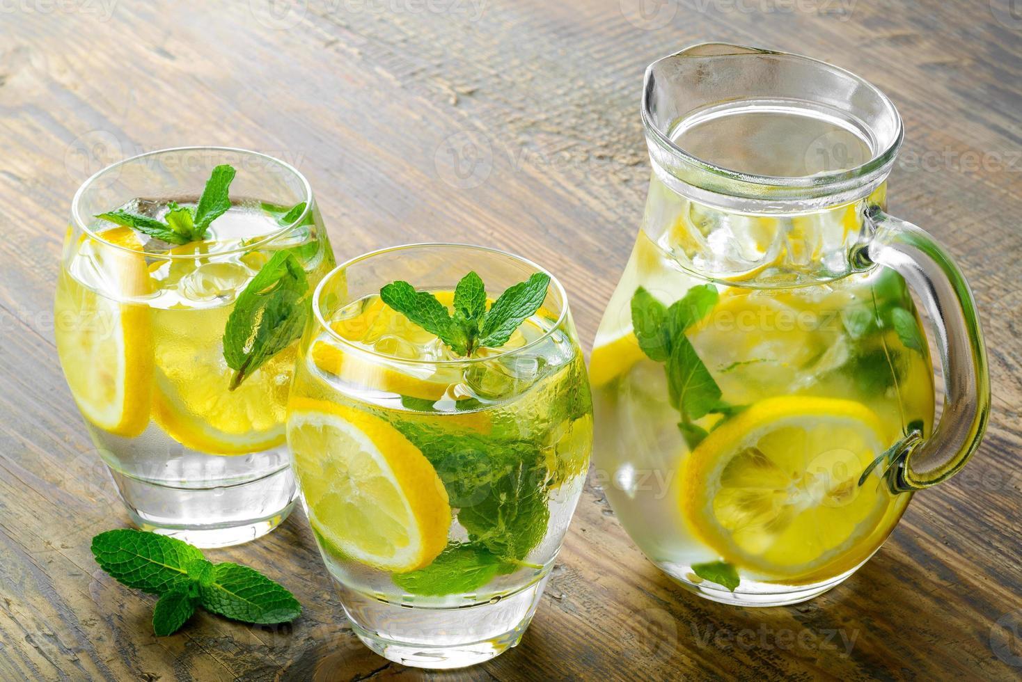 agua dulce con limón, menta y pepino foto