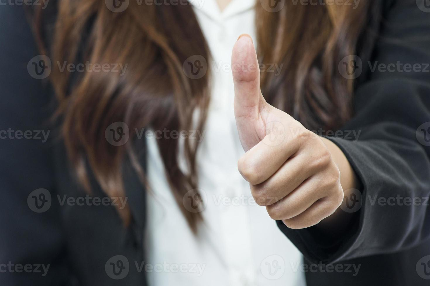 Portrait of happy young business woman photo