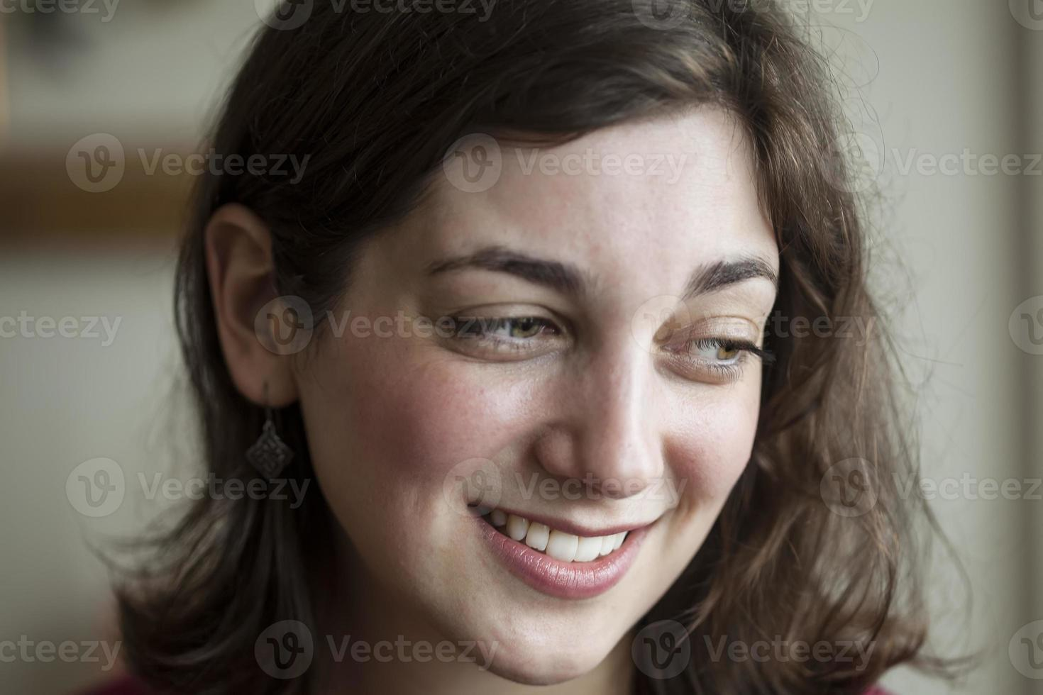 Young Woman with Beautiful Green Eyes photo
