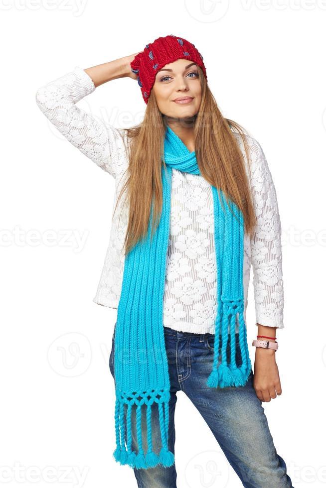 retrato de mujer de estilo de invierno foto