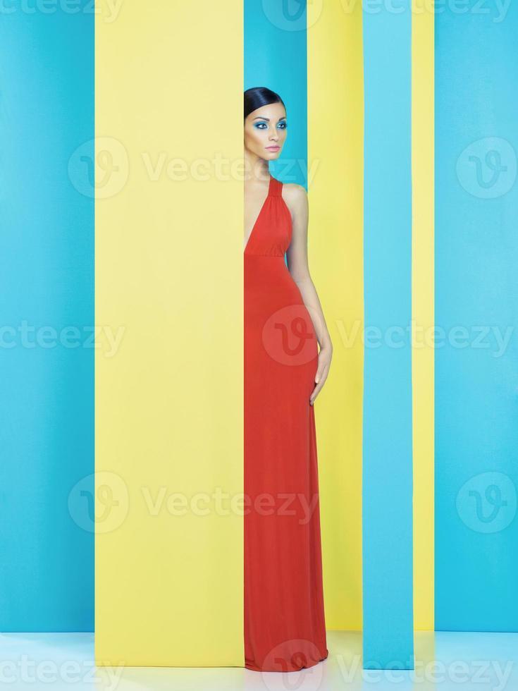 Lady on colorful background photo