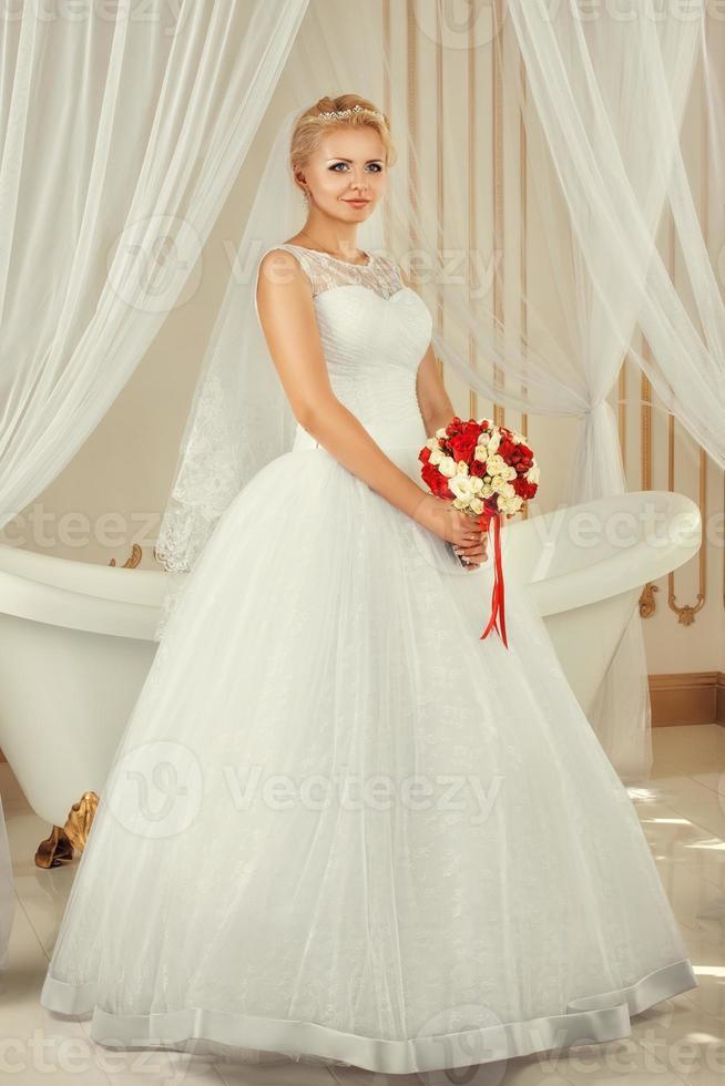 Portrait of the bride with a bouquet photo