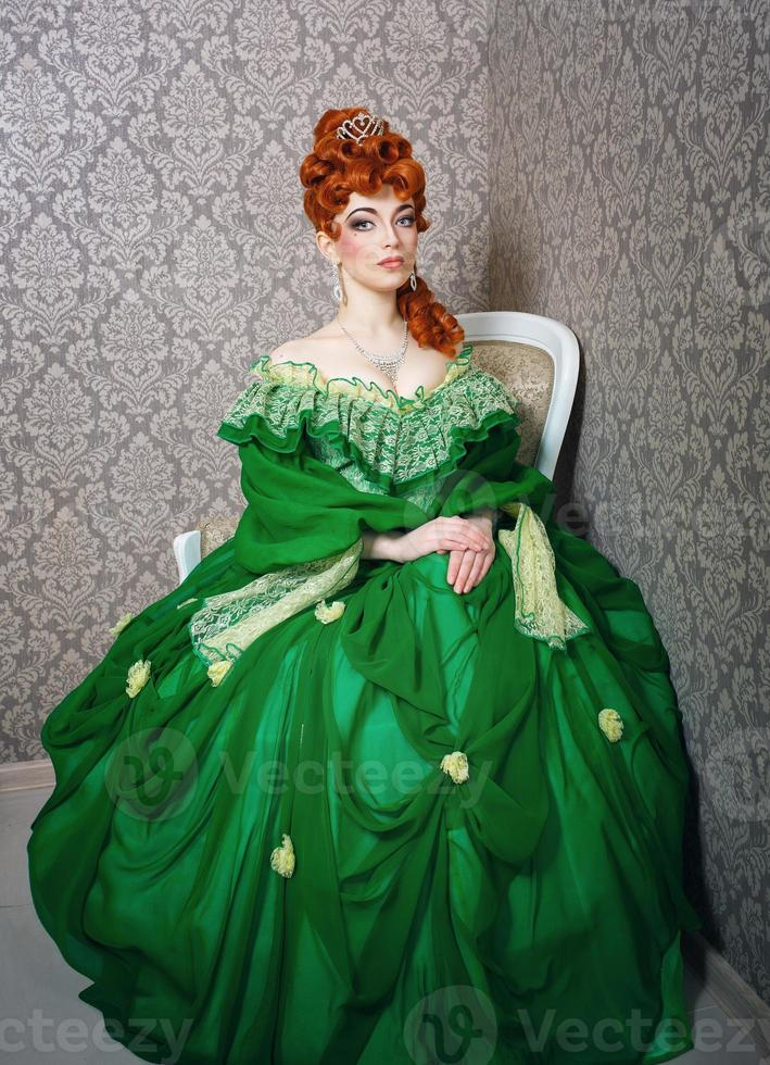 Princess in magnificent green dress photo