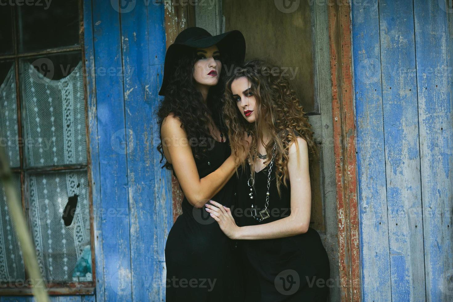 two vintage women as witches photo