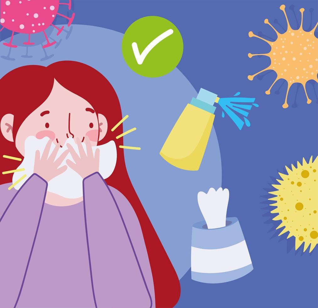 niña tapándose la boca con un pañuelo para prevenir infecciones virales vector