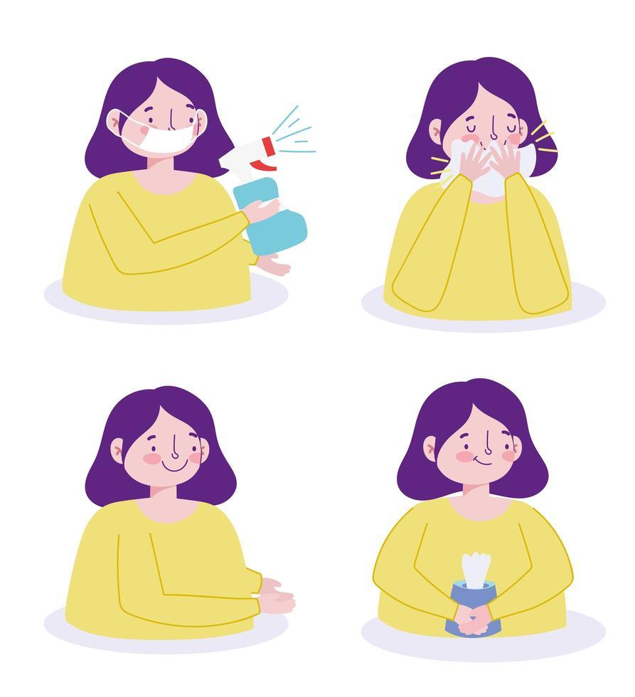 personaje de mujer previniendo la infección viral conjunto de iconos vector