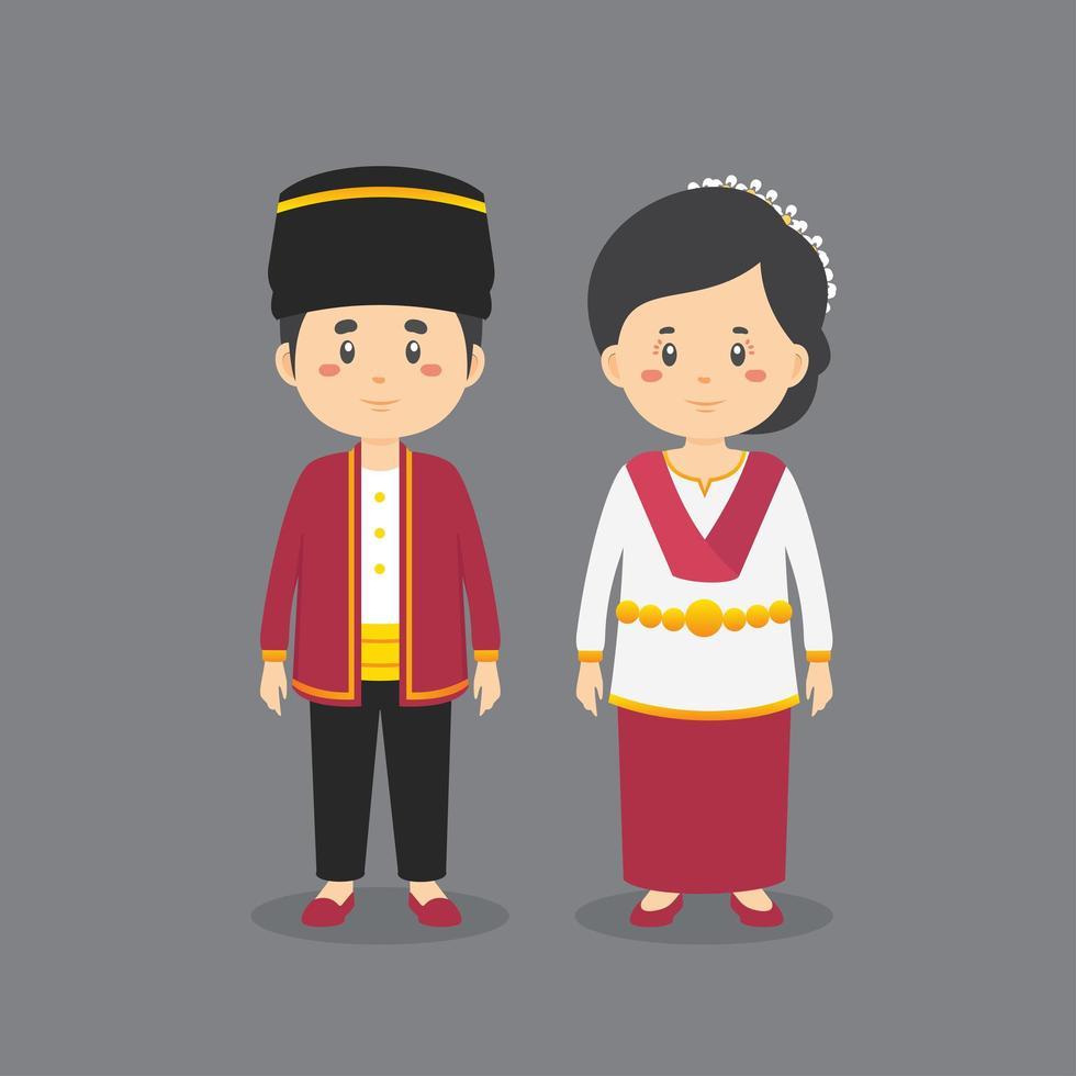 vestido tradicional de maluku del norte vector
