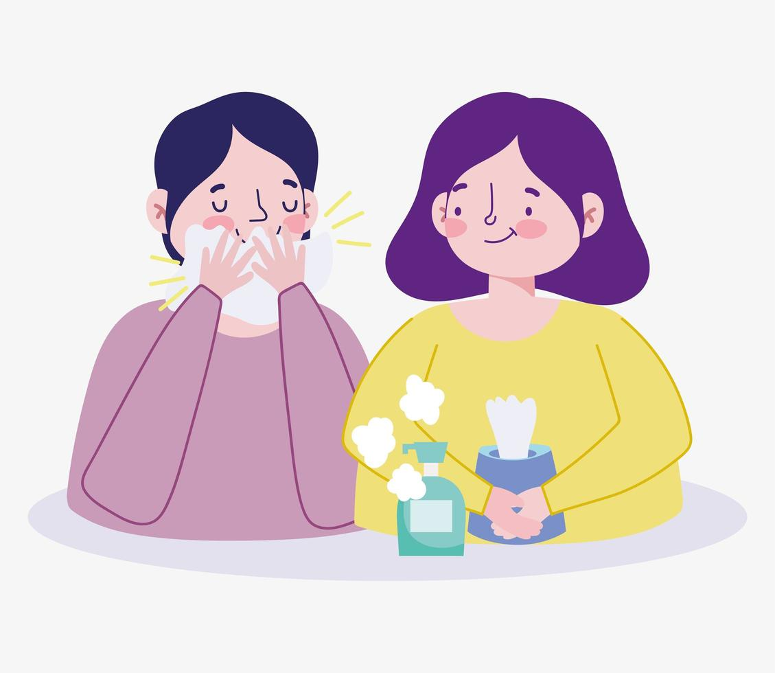 Women with tissue paper and disinfectant vector