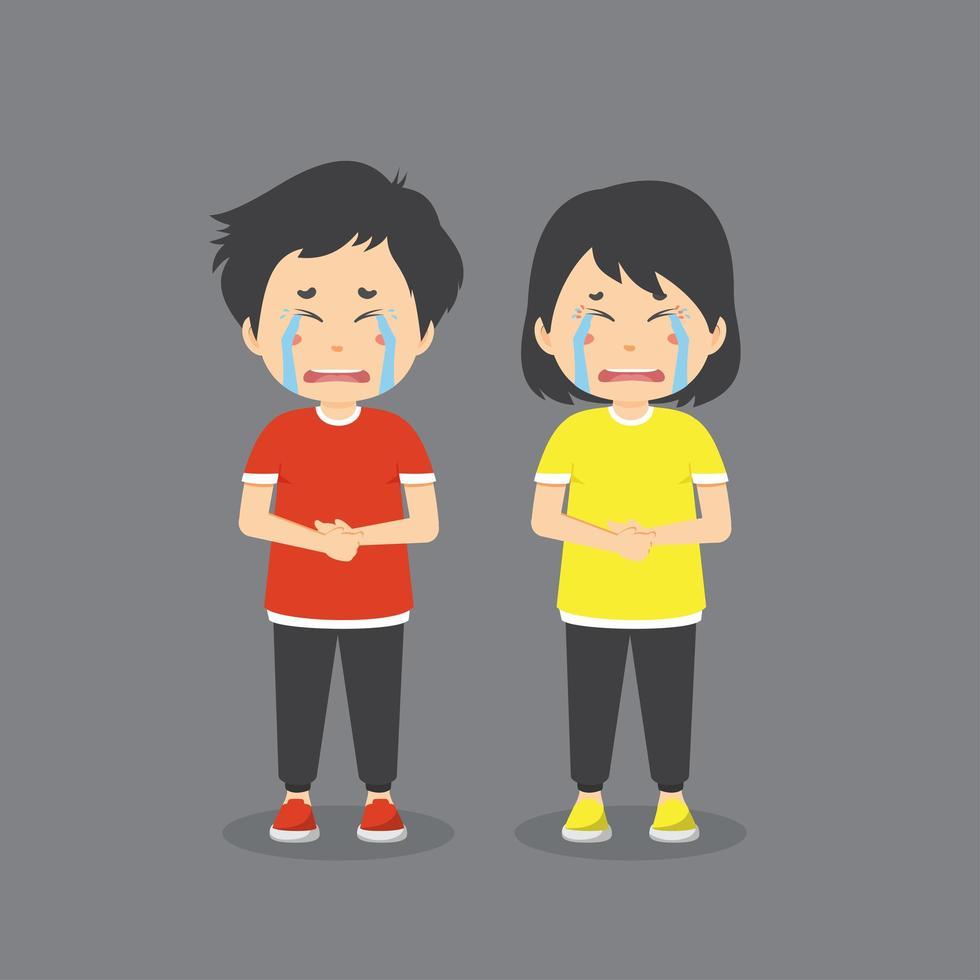 conjunto de personas llorando vector