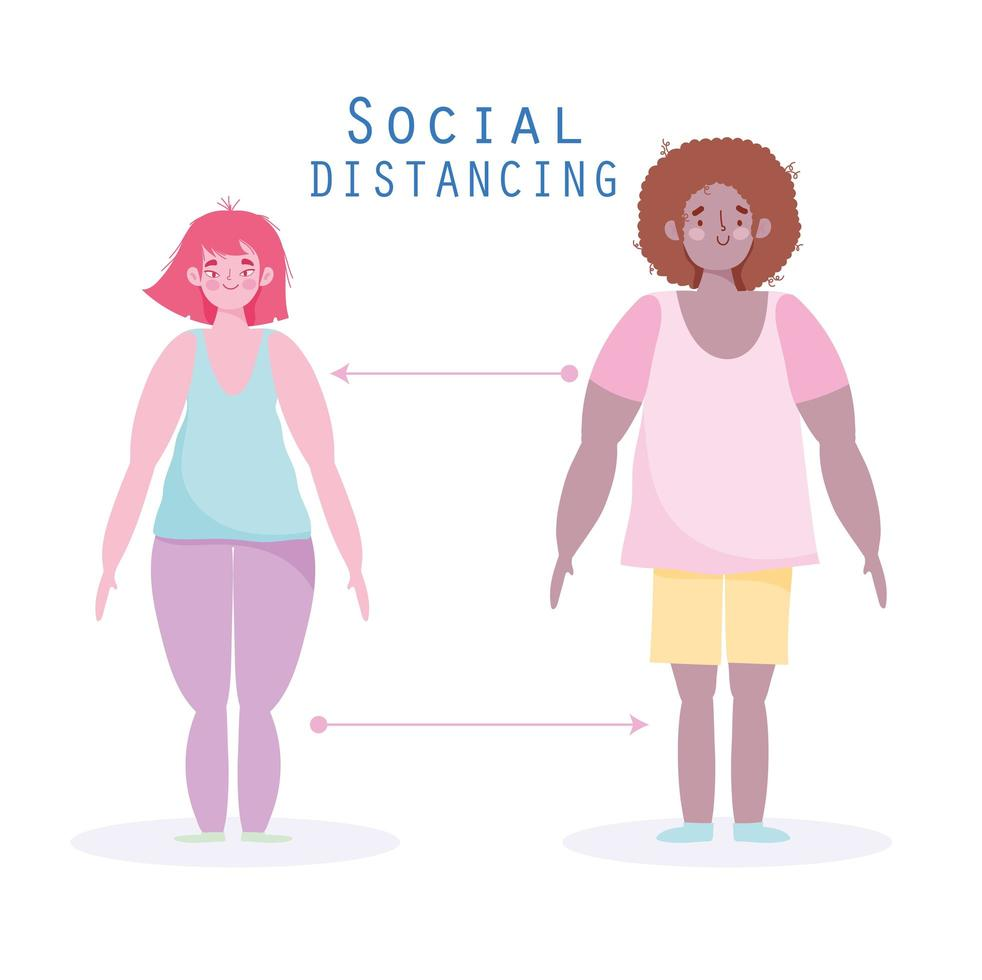 Man and woman social distancing to keep an appropriate distance vector