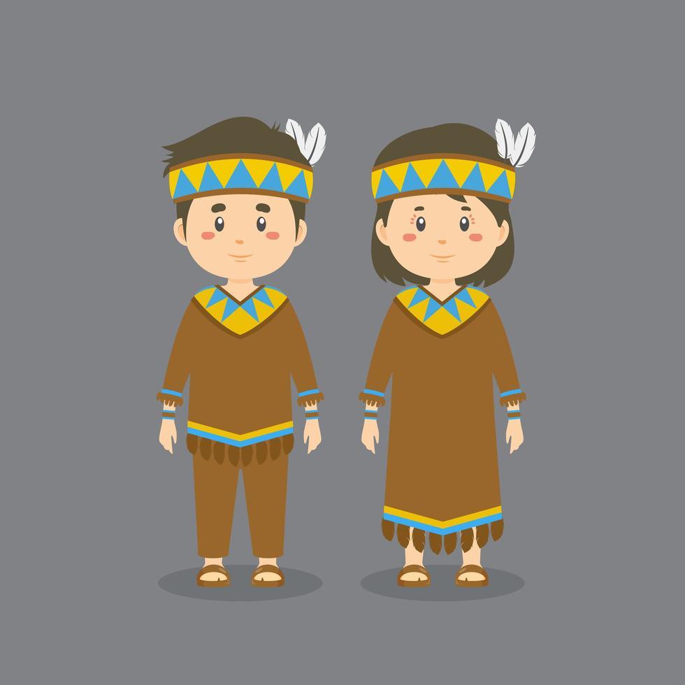 vestido tradicional nativo americano vector