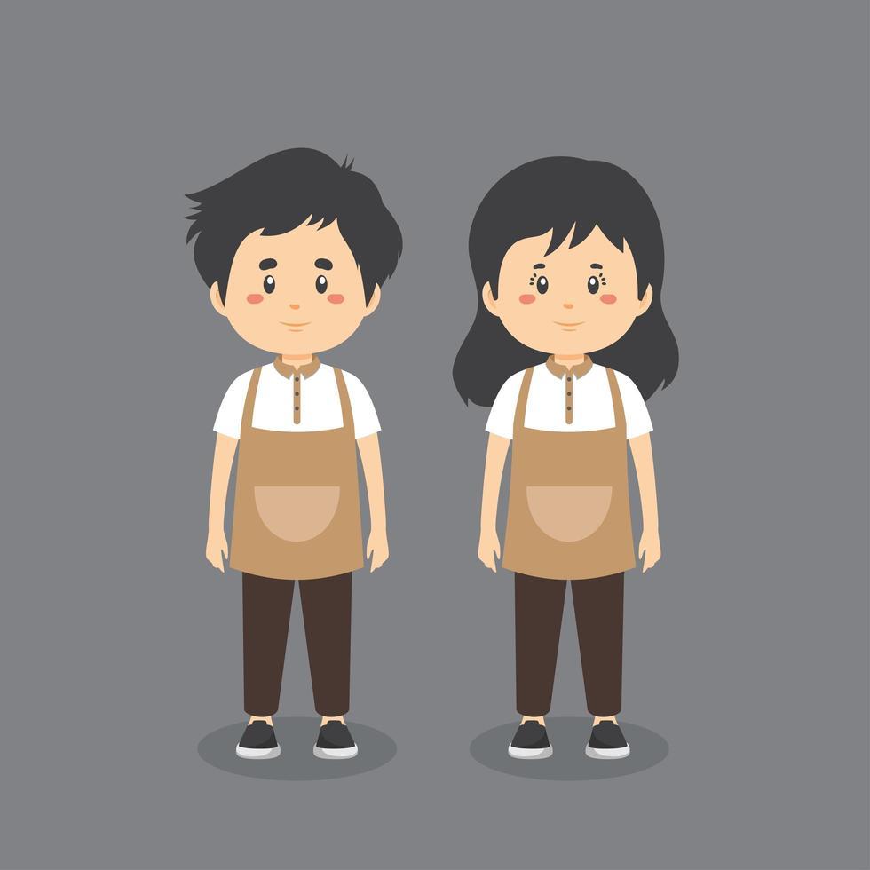 uniforme de café barista vector
